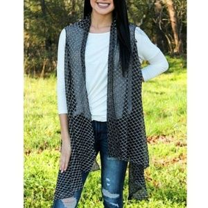Black Diamond Lace Vest Cover Up